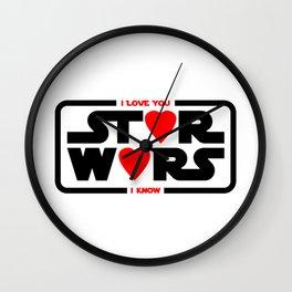 Star - I love you - I know - Wars Wall Clock
