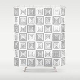 Mid Century Modern Geometric Checker 821 Gray Shower Curtain