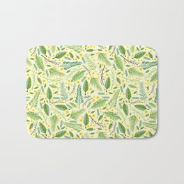 Tropical yellow green abstract leaves floral pattern Bath Mat