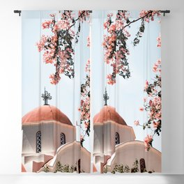 Summer In Greece Art Print | Pink Flowers Photo | Crete Island Holiday | Europe Travel Photography Blackout Curtain