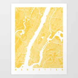 Manhattan map yellow Art Print