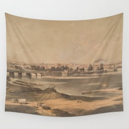 Vintage Pictorial View of Richmond VA (1853) Wall Tapestry