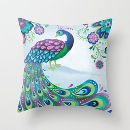 Flaunting It Peacock Throw Pillow