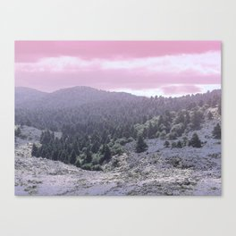 Pink Sunset on Mountains Canvas Print
