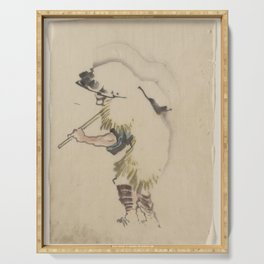 Japanese Art Print - Hokusai - Peasant in Straw Hat Carrying Tools (1830s) Serving Tray