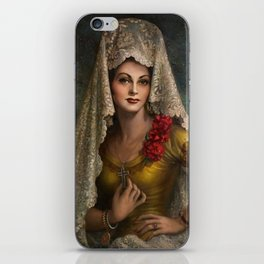 Spanish Beauty with Lace Mantilla and Comb by Jesus Helguera iPhone Skin