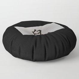 Chinese zodiac sign Rat black Floor Pillow