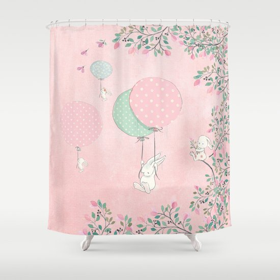 Cute Flying Bunny With Balloon And Flower Rabbit Animal On Pink Floral  Backround Shower Curtain