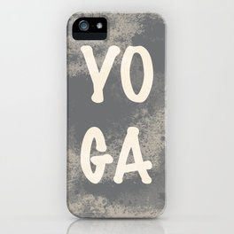 Yoga word with a grunge gray background iPhone Case