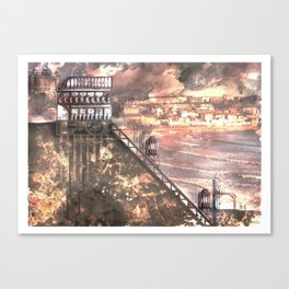 Future Funicular (Steampunk Scarborough Seafront) Canvas Print