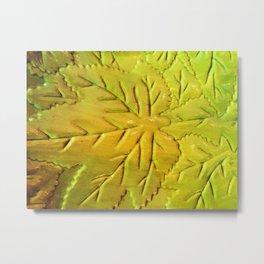 Green Gloss Leafs Metal Print