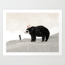 Aia and spectacled bear Art Print