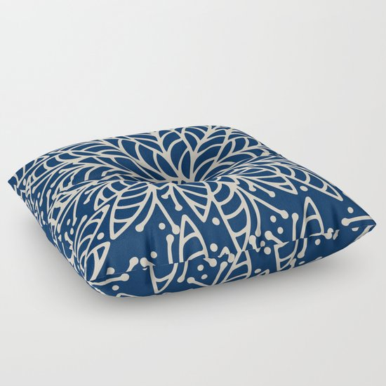 Modern navy blue ivory hand painted floral mandala Floor Pillow by Pink Water Society6