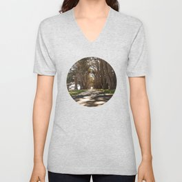 Tunnel of Trees Photography Print Unisex V-Neck
