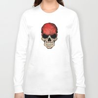 indonesia Long Sleeve T-shirts featuring Dark Skull with Flag of Indonesia by Jeff Bartels