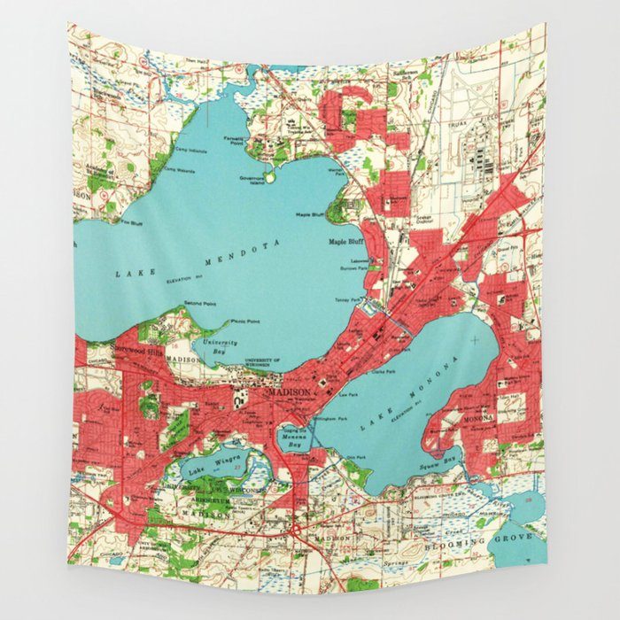 Vintage Map of Madison Wisconsin (1959) Wall Tapestry by ...