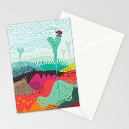 Colourful landscape with young plants, insects and birds Stationery Cards