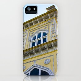 Blue Sky behind the front of the Yellow Chomahalla Palace in Hyderabad, India iPhone Case