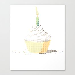Happy Birthday Cupcake in a Real Cross Stitch Pattern - Color Coded Chart - Wearable Fiber Art Patte Canvas Print