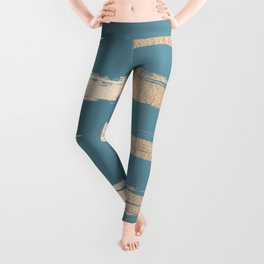 Abstract Painted Stripes Gold Tropical Ocean Blue Leggings