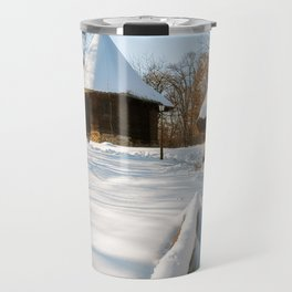 Snow cover in a Romanian Village with an old wooden church Travel Mug