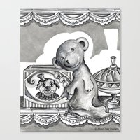 teddy bear Canvas Prints featuring Teddy by Alison Day Designs