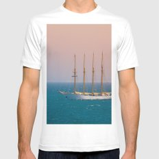 The sun on the sailing ship White Mens Fitted Tee MEDIUM
