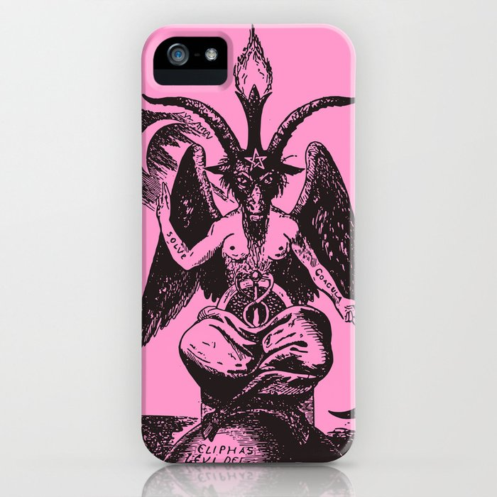 Black and Pink Baphomet iPhone Case