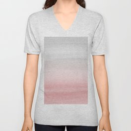 Touching Blush Gray Watercolor Abstract #1 #painting #decor #art #society6 Unisex V-Neck