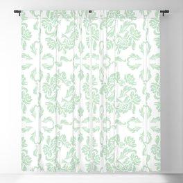 Pastel Lime Green Vintage Damask Botanical Print Blackout Curtain