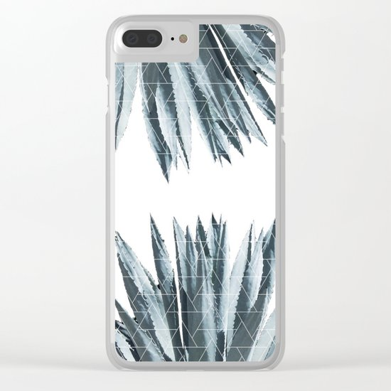Geometric agave & monstera Clear iPhone Case