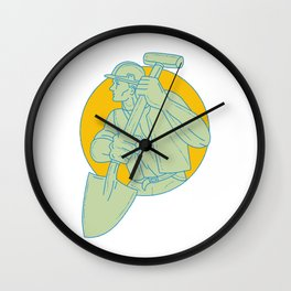 Construction Worker Shovel Circle Drawing Wall Clock