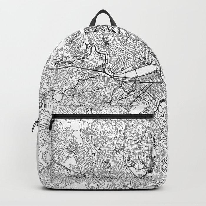 Boston White Map Backpack