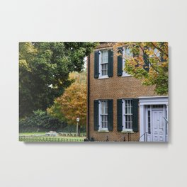 Brick house with Fall leaves Metal Print