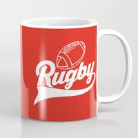 rugby Mugs featuring RUGBY by frail