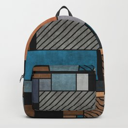 Random Concrete Pattern - Blue, Grey, Brown Backpack