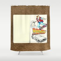 back to the future Shower Curtains featuring Back to the Future by Petia Koteva
