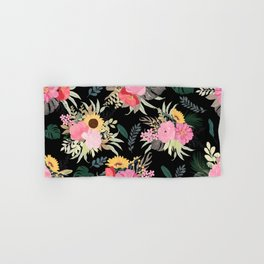 Watercolor Poppy & Sunflowers Floral Black Design Hand & Bath Towel