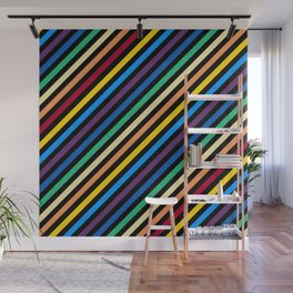 Rainbow Stripes with Black Wall Mural