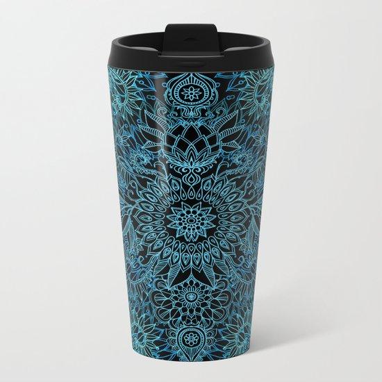 Black & Aqua Protea Doodle Pattern Metal Travel Mug