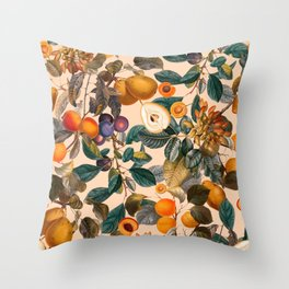 Vintage Fruit Pattern IX Throw Pillow