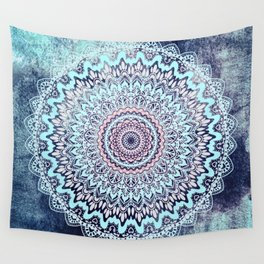 BLUE AUTUMN BOHO MANDALA Wall Tapestry