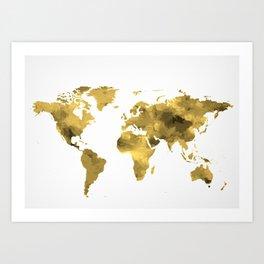 Gold World Map Art Print