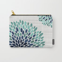 Blooms and Stripes, Aqua and Navy Carry-All Pouch