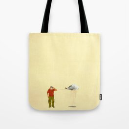 man listening to a cloud Tote Bag