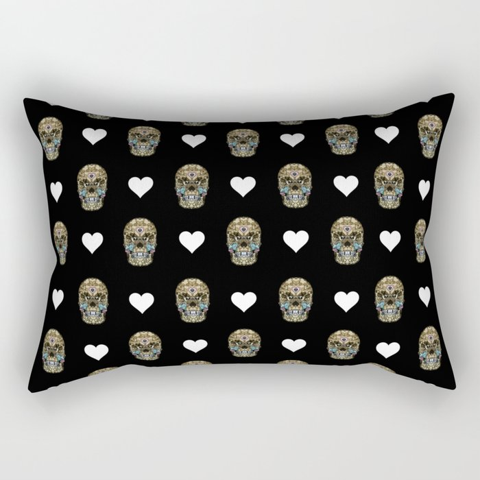 Say It with Skull and Hearts Rectangular Pillow
