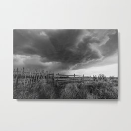 Fenced In - Storm Advances Over Old Fence on Ranch in Oklahoma in Black and White Metal Print