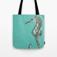seahorse Tote Bags featuring Seahorse by Rachel Russell