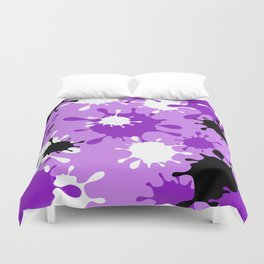 Paint Splatter-Purple+Black Duvet Cover
