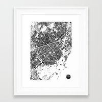 barcelona Framed Art Prints featuring Barcelona by Maps Factory